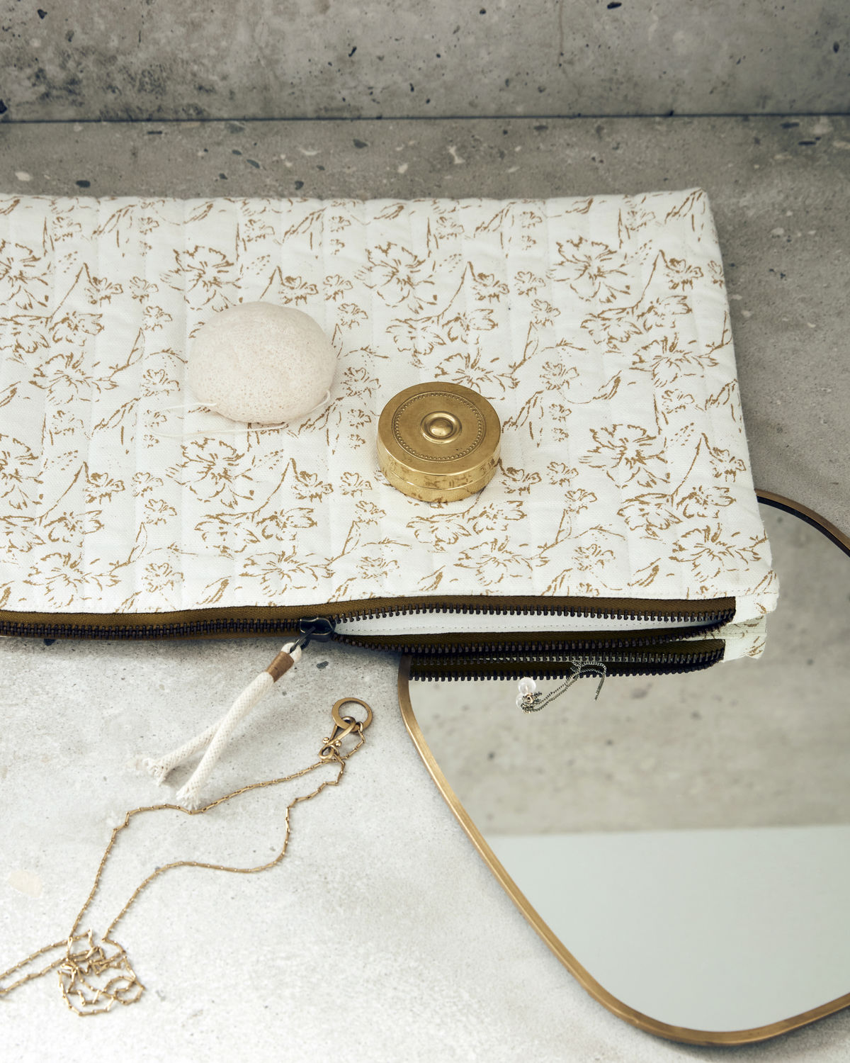 Makeup pouch, Lutea, Off-white and mustard, Colour may vary